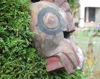 Antique Vintage carved Guatemalan Folk Art Weathered, Primitive Rooster / Chicken Dancing Mask ~ Hanging Wall Mask ~ Collection ~ Spirit