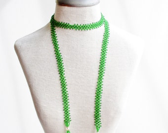 1920s Green Beaded Tassel Necklace with Aurora Beads