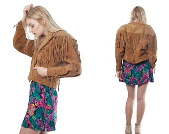 70's Vintage Western Suede Cropped Leather Bomber FRINGE Jacket