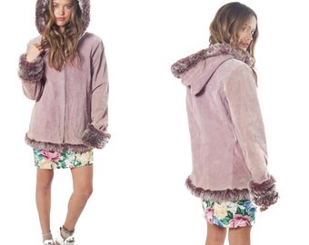 70's Vintage Lavender Hooded Suede Coat Fur Trim Size Small Medium
