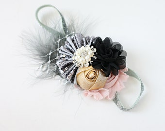 Starling Night - silver gold black and blush pink sequin chiffon and rosette headband bow