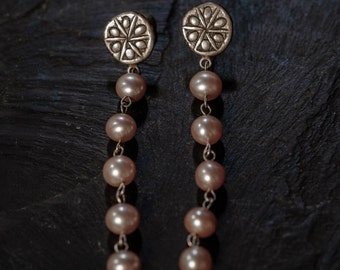 sun salutations earrings with pink fresh water pearls (long strand)