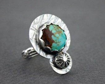 Turquoise ring with sterling silver detail- Size 6