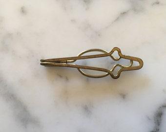 Mens Tie Clip Bar . Antique Gold Tone . Costume Jewelry