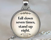Fall down seven times, stand up eight necklace, Japanese proverb necklace, inspirational quote jewelry, overcoming adversity