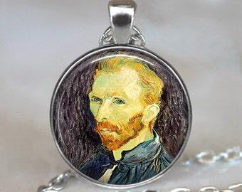 Van Gogh necklace, Van Gogh portrait necklace, Van Gogh art jewelry art teacher gift art student gift Van Gogh self portrait