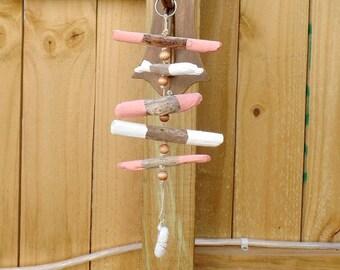 Pink Driftwood Mobile - Beach Decor - Driftwood Hanging - Beach Mobile