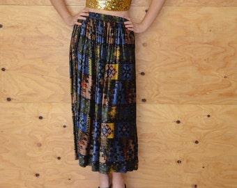 Vintage 80s Navajo Southwestern Crushed Velvet Skirt SZ M L