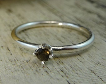 3mm Smoky Quartz Sterling Silver Stacking Ring Engagement Ring Solitaire Ring
