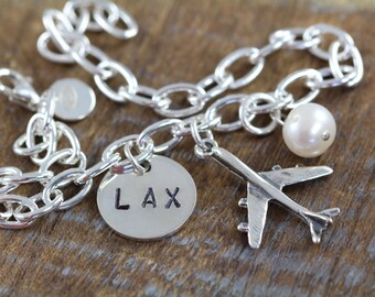Airplane Bracelet, Airport Code Bracelet, Personalized Gifts for Pilot Flight Attendant, 925 Sterling Silver Jewelry