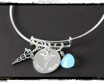 Custom Engraved and Personalized Medical Alert Bracelet, 925 Sterling Silver, Medical ID Bangle Jewelry