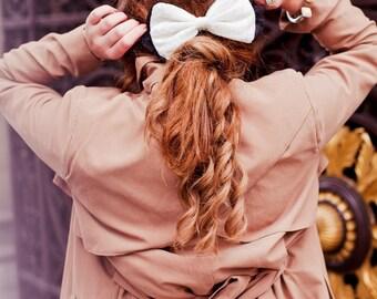 Cream Velvet Bow, Velvet Hair Clip, Velvet Bow, Fall Fashion Hair Accessory