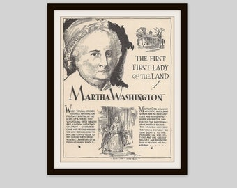 Martha Washington, Vintage Art Print, History Teacher Gift, Classroom Art, Women in History, American History, History Print, First Lady
