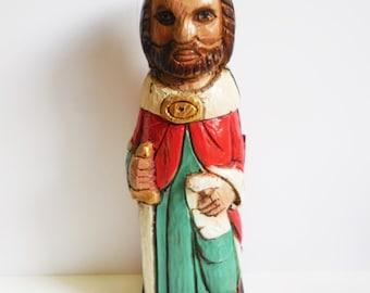 Vintage carved wood Liquor Wine bottle case cabinet Medieval King w/ sword Folk Art Spain hidden storage Red green