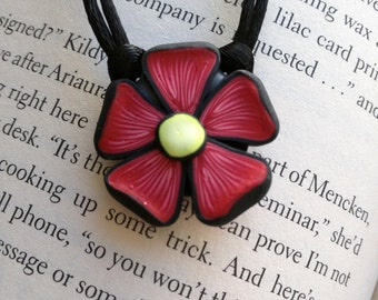 Red Flower Necklace, 1 Inch; Polymer Clay Pendant; Floral Necklace; Springtime Fashion; Style #: REF01