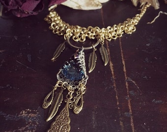 Handmade Chainmaille Necklace - Choker - Brass - Gold - Blue - Feather - Boho Chic - Holidays - December - Christmas