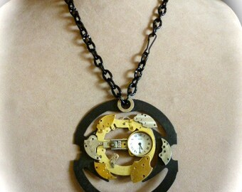 OOAK Industrial Art to Wear Steampunk Statement Pendant Necklace in Black, Brass and Silver Repurposed Clock and Watch Parts