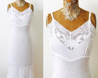 Vintage white slip with lace trim/bridal undergarment