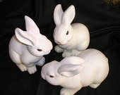 Sweet Trio of Rabbits,Painted Clay, White Shabby/Chippy Easter Bunnies Vintage lot of Hares..