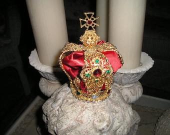 Vintage Religious Multi Bejeweled Rhinestone Filigree Heavy Metal/Brass Crown for Lg.Infant of Prague,Madonna/Santo Statue