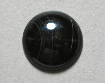 BLACK ONYX cabochon round 20mm disc dome designer cab