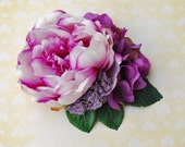 Unique cream and purple peony with purple buds, matching purple hydrangea and blackberry vintage wedding bridal hairflower rockabilly pin up