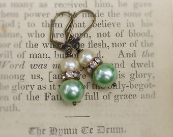 Josephine, Vintage Reclaimed Pale Celery Green Pearls & Cream Pearls, Vintage Rhinestones Upcycled Pearl Earrings by Hollywood Hillbilly