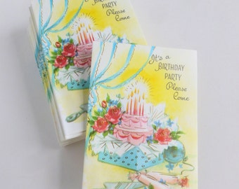 Birthday Party Invitations Lot of 10 Unused Mid Century Cards