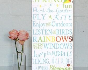 Sale!!! Spring Fun -Vintage distressed Style Wood Typography Word Art Sign on Wood