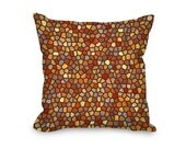Fall Throw Pillow Cover, modern pillow cover, orange, yellow and gray mosaic design, home decor, decorative pillow, printed accent pillow