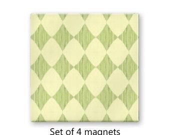 Diamond pattern fridge magnets, yellow magnet set , refrigerator magnets, set of 4 decorative magnets, pastel kitchen decor, art magnets