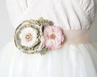 Wedding Sash, Bridal Sash Belt, Pink and Green Wedding, Floral Belt, Fabric Flower Bridal Brooch, Pearl Rhinestone Sash, Garden Wedding