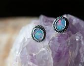 Australian Black Opal, Sterling Silver, Stud Earrings, Post Earrings... Lightning Ridge Australian Opal... Fire & Light...