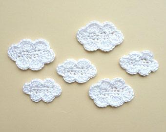 Crochet clouds applique - white cloud embellishment - kids party decoration - white clouds applique - kids craft project applique - set of 6
