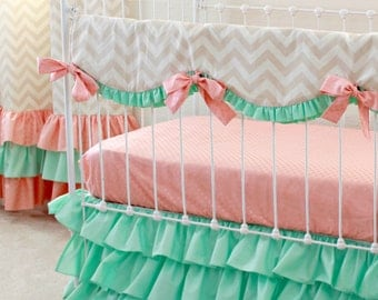 Mint Peach Crib Bedding , Bumperless Baby Girl Bedding,  Peach and Mint Nursery, Chevron baby bedding , Ruffle crib bedding by lottiedababy