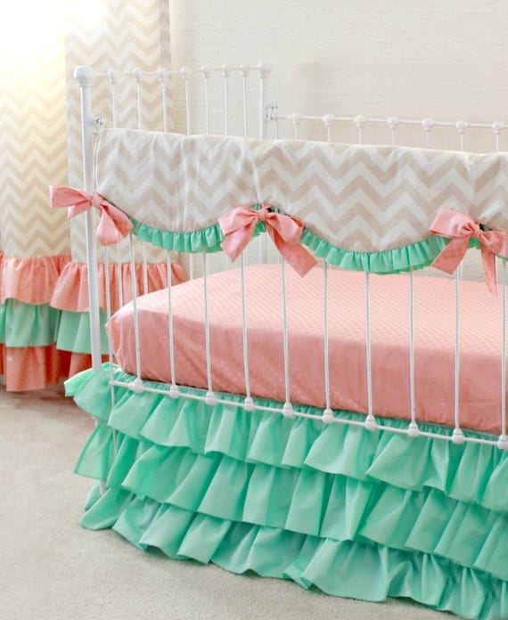 Mint Peach Crib Bedding Bumperless Baby Girl By Lottiedababy