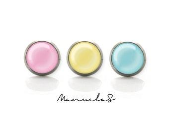 3 different candy pastel colors Titanium Post stud Earrings | Hypoallergenic Sensitive Stud | Titanium Stud Earrings | Black stud earrings