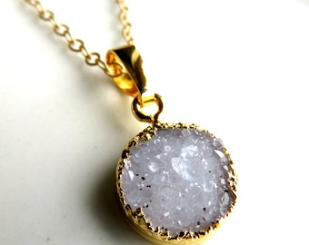 Sparkling Druzy Coin Necklace
