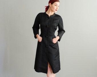 Vintage 1950s Silk Dress - 50s Lord & Taylor Dress Coat - India Ink Dress