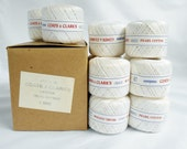 Pearl Cotton White Thread Coats & Clark One Dozen Box Lot Bulk 12 Spools 50 yd ea Size 5, Embroidery Crochet Knitting Thread