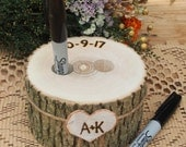 Wood PEN HOLDER - Guest Book - Wedding Table - Wood - Rustic Country Wedding - Brown