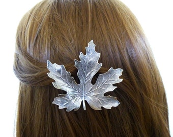 Bridesmaid Hair Clip Silver Maple Leaf Barrette Bride Bridal Botanical Nature Lover Autumn Fall Rustic Woodland Weddings Womens Gift For Her