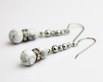 White Marble Dangle -White Stone Crystal Silver Beaded Drop Dangle Earrings - Small Simple Classic White Silver Earrings