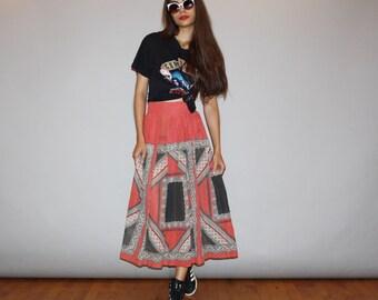 1960s Delicate Flowy Semi-Sheer Handkerchief Boho Hippie Vintage Midi Skirt  - Vintage 60s Boho Skirt   - 60s  Handkerchief Print  - wb464