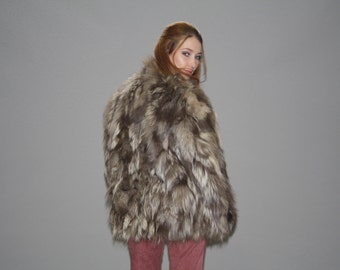 Vintage 1970s Silver Fox Gray Fur Coat  - Vintage  Fur  Coat  - Short Fur Coats   - WO0579
