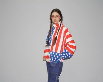 Vintage American Flag Bomber Jacket - 90s USA Jacket - Vintage Flag Jacket  - WO0602