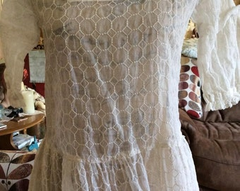 Edwardian 1920s White Sheer Lawn Dress Mother Of Pearl Buttons