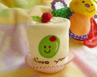 Olive You..Premium 100% Organic Cotton..Olive You Baby Shower..Onesie Cupcake Gift..Olive Appliqued Onesie..Adorable :)