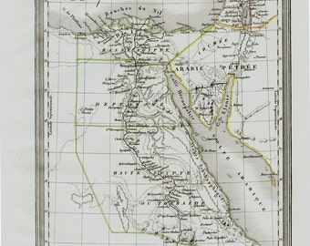 1830 Egypt Antique map. the old Egypt historical map, Very fine and decorative. Original antique map + 150 years old