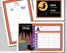 Halloween Bunco Score Card Set - Let's Play Bunco Witches Includes - Us Them Tally Sheet and Table Cards - Instant Download -  #00111H-ID